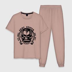 Пижама хлопковая мужская Армейский снайпер цвета пыльно-розовый — фото 1