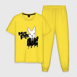 Пижама хлопковая мужская Misfits Rabbit цвета желтый — фото 1