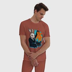 Пижама хлопковая мужская Rabbit magician цвета кирпичный — фото 2