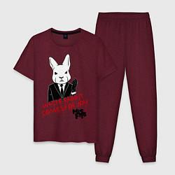 Пижама хлопковая мужская Misfits: White rabbit цвета меланж-бордовый — фото 1