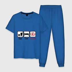 Пижама хлопковая мужская Еда, сон и Lexus цвета синий — фото 1