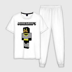 Пижама хлопковая мужская Minecraft Batman цвета белый — фото 1