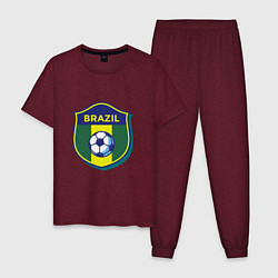 Пижама хлопковая мужская Brazil Football цвета меланж-бордовый — фото 1