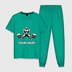 Пижама хлопковая мужская Train hard тренируйся усердно цвета зеленый — фото 1