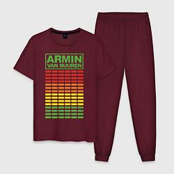 Пижама хлопковая мужская Armin van Buuren: EQ цвета меланж-бордовый — фото 1