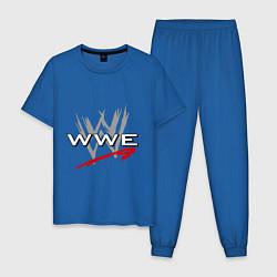 Пижама хлопковая мужская WWE Fight цвета синий — фото 1