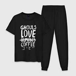 Пижама хлопковая мужская Ghouls Love Coffee цвета черный — фото 1