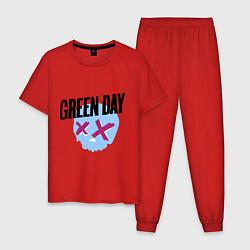 Пижама хлопковая мужская Green Day: Dead Skull цвета красный — фото 1