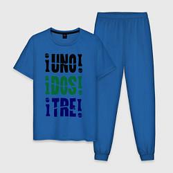 Пижама хлопковая мужская Uno! Dos! Tre! цвета синий — фото 1