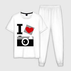 Пижама хлопковая мужская Я люблю фото цвета белый — фото 1