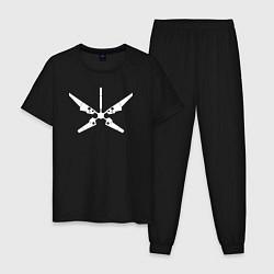 Пижама хлопковая мужская Радар цвета черный — фото 1