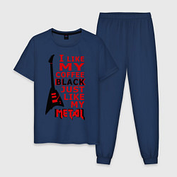 Пижама хлопковая мужская Mindless Self Indulgence - Coffee black цвета тёмно-синий — фото 1