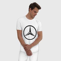 Пижама хлопковая мужская Mercedes-Benz logo цвета белый — фото 2