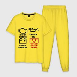 Пижама хлопковая мужская Check Pants цвета желтый — фото 1