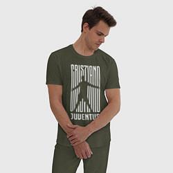 Пижама хлопковая мужская Cris7iano Juventus цвета меланж-хаки — фото 2