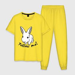 Пижама хлопковая мужская Rabbit: follow me цвета желтый — фото 1