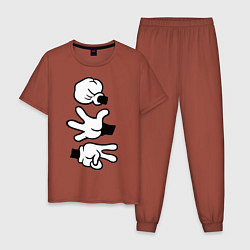 Пижама хлопковая мужская Rock paper scissors цвета кирпичный — фото 1