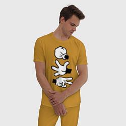 Пижама хлопковая мужская Rock paper scissors цвета горчичный — фото 2