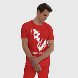 Пижама хлопковая мужская Sherlock Face цвета красный — фото 2