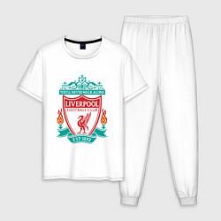 Пижама хлопковая мужская Liverpool FC цвета белый — фото 1