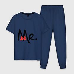 Пижама хлопковая мужская Mr. Bow цвета тёмно-синий — фото 1