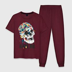 Пижама хлопковая мужская Rape me цвета меланж-бордовый — фото 1