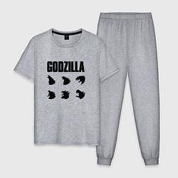 Пижама хлопковая мужская Godzilla Mood цвета меланж — фото 1
