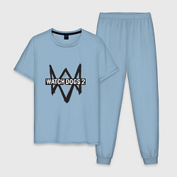 Пижама хлопковая мужская Watch Dogs 2 цвета мягкое небо — фото 1