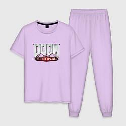 Пижама хлопковая мужская DOOM Eternal цвета лаванда — фото 1