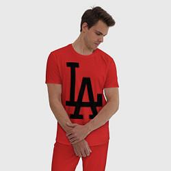 Пижама хлопковая мужская LA: Los Angeles цвета красный — фото 2