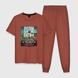 Пижама хлопковая мужская System of a Down цвета кирпичный — фото 1