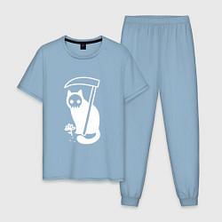 Пижама хлопковая мужская Cat Got Your Soul цвета мягкое небо — фото 1