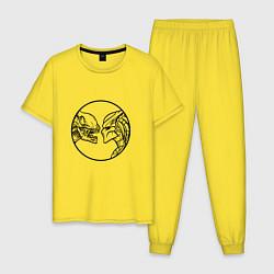 Пижама хлопковая мужская Чужой & Хищник цвета желтый — фото 1