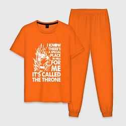 Пижама хлопковая мужская I'ts Called the Throne цвета оранжевый — фото 1