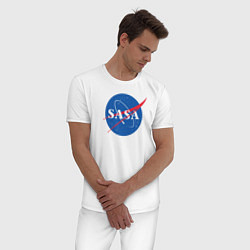 Пижама хлопковая мужская NASA: Sasa цвета белый — фото 2
