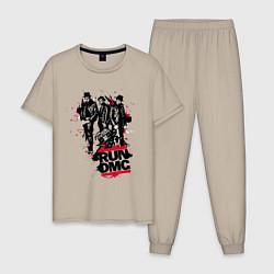 Пижама хлопковая мужская Run-DMC цвета миндальный — фото 1