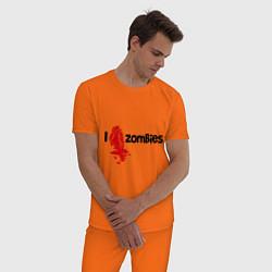 Пижама хлопковая мужская I love zombies цвета оранжевый — фото 2