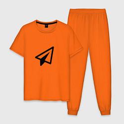 Пижама хлопковая мужская Самолетик цвета оранжевый — фото 1