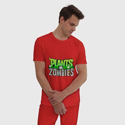 Пижама хлопковая мужская Plants vs zombies цвета красный — фото 2