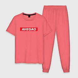 Пижама хлопковая мужская Ahegao x Supreme цвета коралловый — фото 1