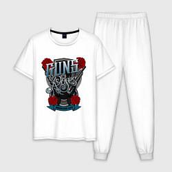 Пижама хлопковая мужская Guns n Roses: illustration цвета белый — фото 1