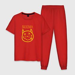Пижама хлопковая мужская TES: Skooma цвета красный — фото 1