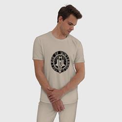 Пижама хлопковая мужская College of Winterhold цвета миндальный — фото 2
