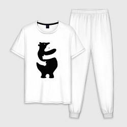 Пижама хлопковая мужская Мишки-обнимашки цвета белый — фото 1