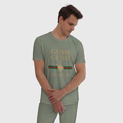 Пижама хлопковая мужская GUSSI Ga-Style цвета авокадо — фото 2