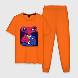 Пижама хлопковая мужская Пришелец Босс цвета оранжевый — фото 1