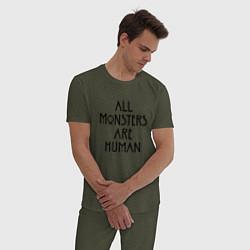 Пижама хлопковая мужская All monsters are human цвета меланж-хаки — фото 2