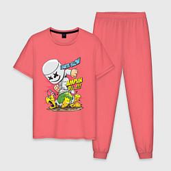 Пижама хлопковая мужская Marshmello: I hate slow цвета коралловый — фото 1