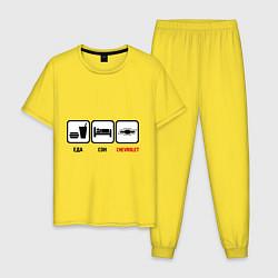 Пижама хлопковая мужская Главное в жизни - еда, сон,chevrolet цвета желтый — фото 1