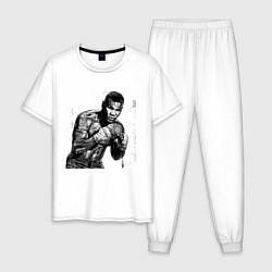 Пижама хлопковая мужская Myke Tyson: Boxing цвета белый — фото 1